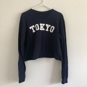 4/$25 Tokyo Spell Out Graphic Crop Top Navy Blue